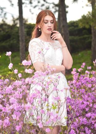 Белое вечернее {свадебное} платье в пайетках