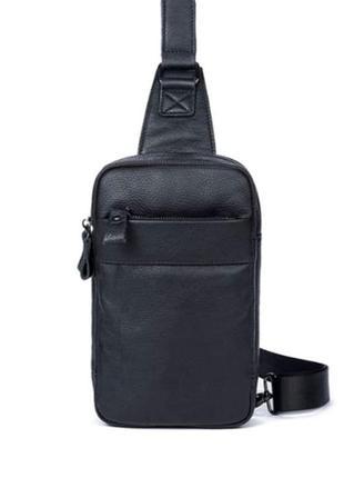 Мужской черный кожаный слинг на плечо tiding bag,сумка барсетка через плечо кожаная