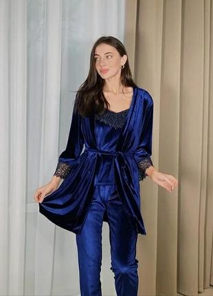 Комплект велюровий халат + майка +шорти + штани, піжама
