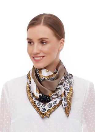 """Шелковый платок """"золотой шик"""" от бренда my scarf, шейный платок, подарок женщине"""