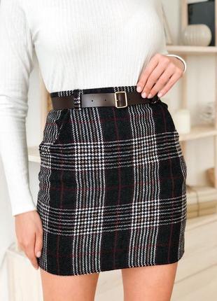 Твидовая юбка с шерстяной подкладкой с поясом