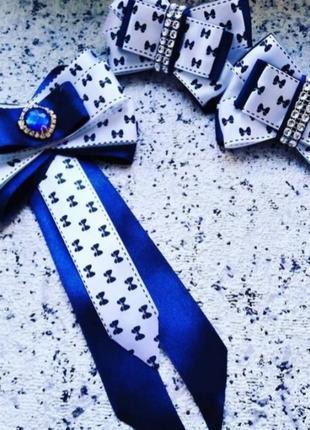 Школьный комплект бантики и галстук брошь
