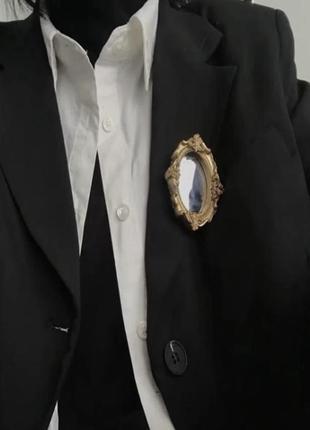 Шикарный подарок на новый год  брошка зеркало в золотой раме
