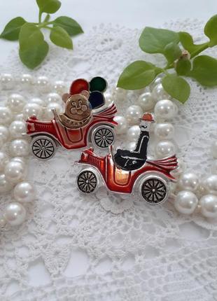 Броши 🚗 ссср советские автомобиль московский ювелирный винтаж пара