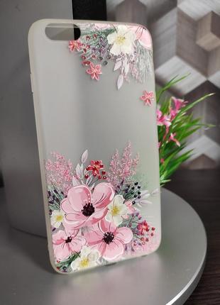 Силиконовый чехол для iphone 6 plus прозрачный матовый с цветами