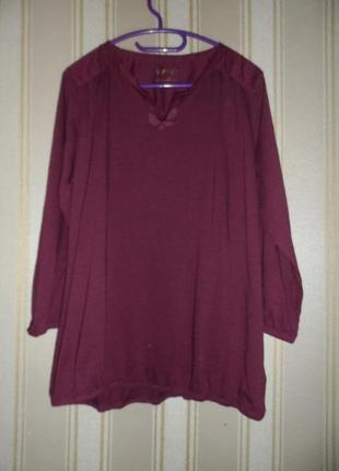 Трикотажная блуза-рубашка длинный рукав размер 48-50 // 4xl-5xl хлопок