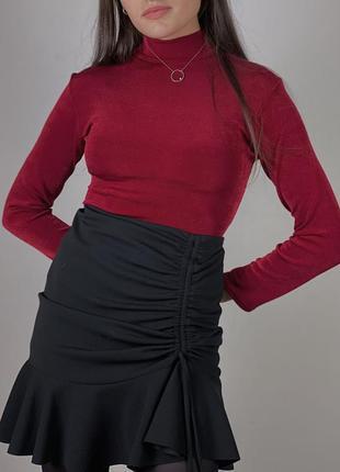 Боди вишневого цвета бордовый марсала с длинным рукавом под горло
