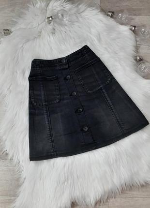 Черная джинсовая юбка на пуговицах superdry