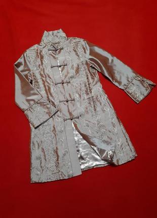 Пиджак в китайском стиле удлиненный шелковый р l  xl