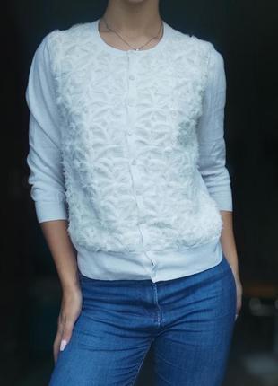 Кардиган реглан пуловеров кофта на пуговицах белая