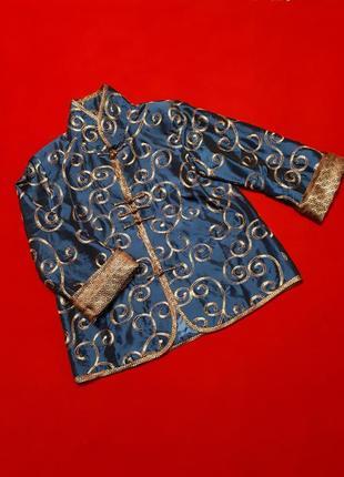 Пиджак синий в китайском стиле шелк р l