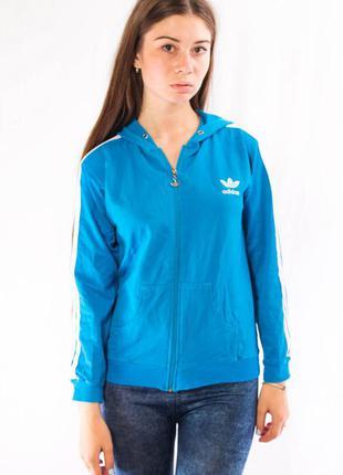 Олимпийка с капюшоном женская голубая adidas (170|176) (s-m)