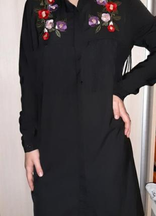 Рубашка платье с вышивкой и бахромой