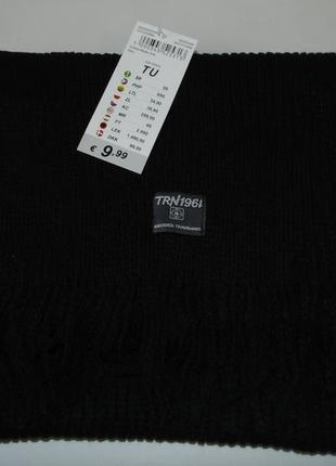Черный шарф с бахромой terranova италия