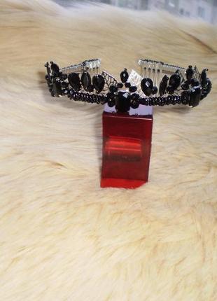 Корона діадема чорна/черная корона ручная работа