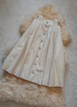 Винтажная льняная юбка миди на пуговицах meiko landhaus look