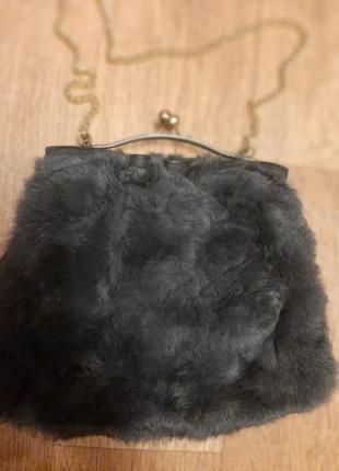Женская сумка, сумочка из меха кролика