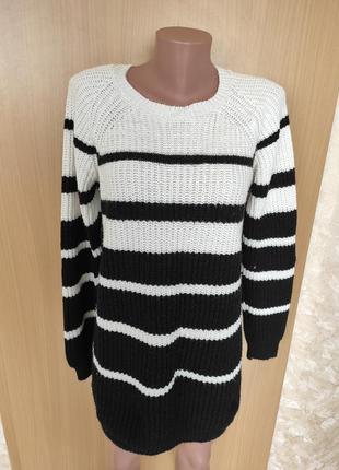 Черное белое вязаное платье оверсайз свитер в полоску f&f