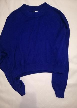 Синий укороченый свитерок размер l oversize