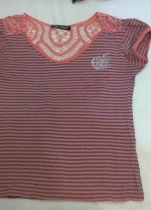 Шикарная футболка в полоску с ажурной спинкой mari time