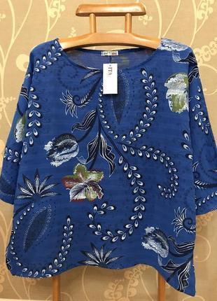 Нереальной красоты итальянская блузка в цветах..100% коттон.