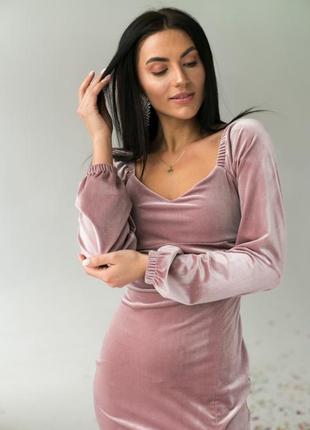 Изысканное платье с объемным длинным рукавом2 фото