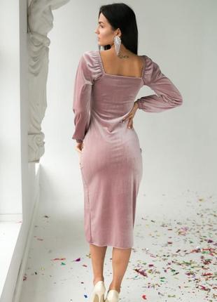 Изысканное платье с объемным длинным рукавом3 фото