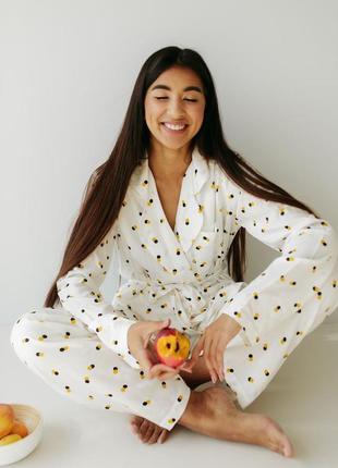 Пижама домашний костюм на запах в горошек