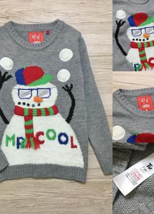 Новогодний й детский  свитер  снеговик