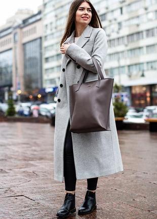 Кожаная женская сумка шоппер