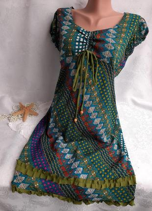 Индия!⛵ платье штапель тяжелый шелк с рюшами рукав фонарик