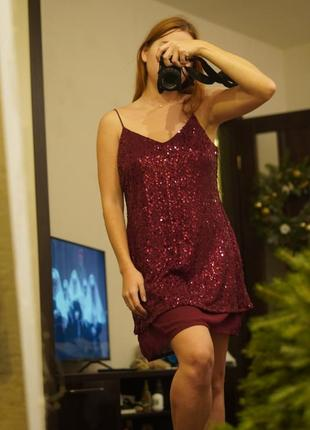 Платье в пайетках бардо next новогоднее2 фото