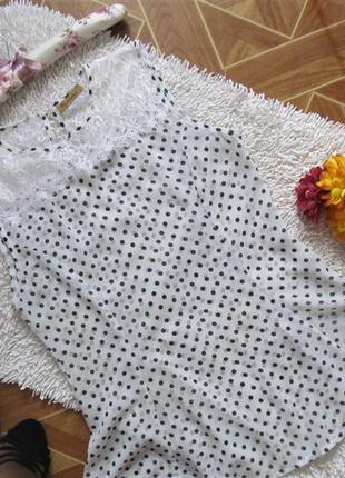 Яскрава блуза у горохи з мереживом,великі розміри