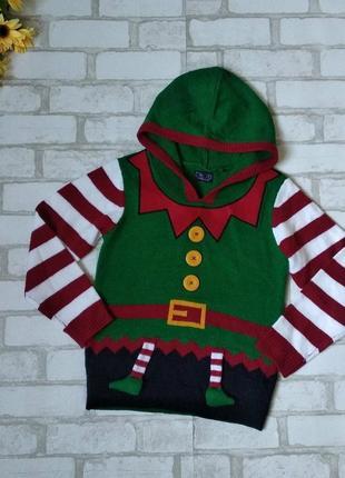 Новогодний свитер next на мальчика эльф с капюшоном