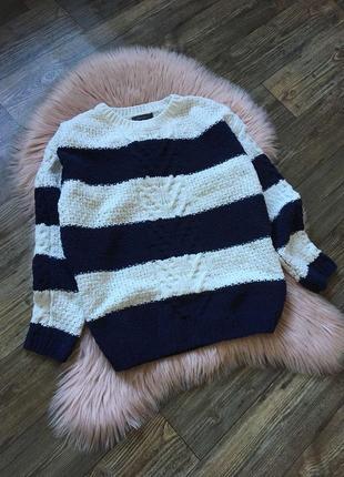 Полосатый теплый свитер