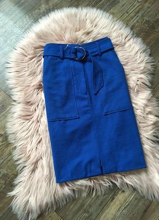 Стильная миди юбка с поясом marks & spencer