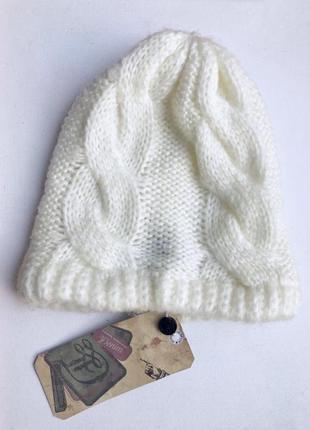Вязанная шапка шапка крупной вязки шапка бини zara bershka tom tailor