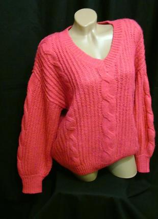 Yessica шикарный свитер крупной вязки в косы - оверсайз - l - xl - xxl