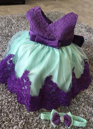 Платье на годик мятное нарядное праздничное