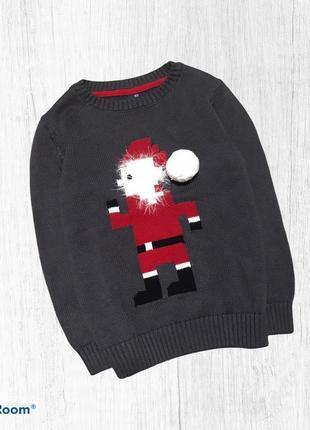 Next  хлопковый свитер свитшот новогодний санта 4-5 лет 104-110 см