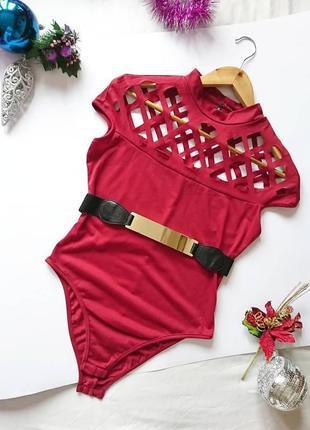 💔 бордовий нарядний боді/блуза з оригінальними вирізами, на р. s/m 💔