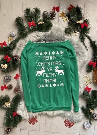 Актуальный новогодний лонгслив кофта merry christmas new year №28