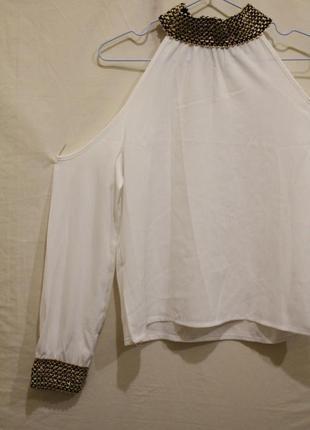 Нарядная блуза с открытыми плечами, топ с рукавами