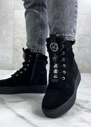 Ботинки barry, зима, натуральная замша, набивная шерсть