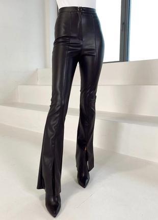 Стильные брюки клёш кожаные экокожа