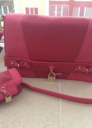 Брендовая классная яркая сумка  клатч m by mosquitos испания оригинал розовая через  плече