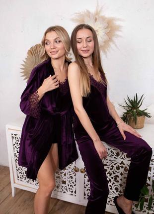 Велюровий комплект для дому та сну, піжама майка + шорти + штани