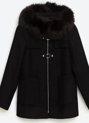 Пальто zara черное oversize осеннее/зимнее 100% вискоза m/l , идеальное состояние5 фото
