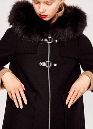 Пальто zara черное oversize осеннее/зимнее 100% вискоза m/l , идеальное состояние3 фото