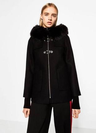 Пальто zara черное oversize осеннее/зимнее 100% вискоза m/l , идеальное состояние1 фото